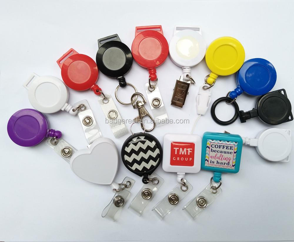 custom color printing logo plastic retractable badge reel