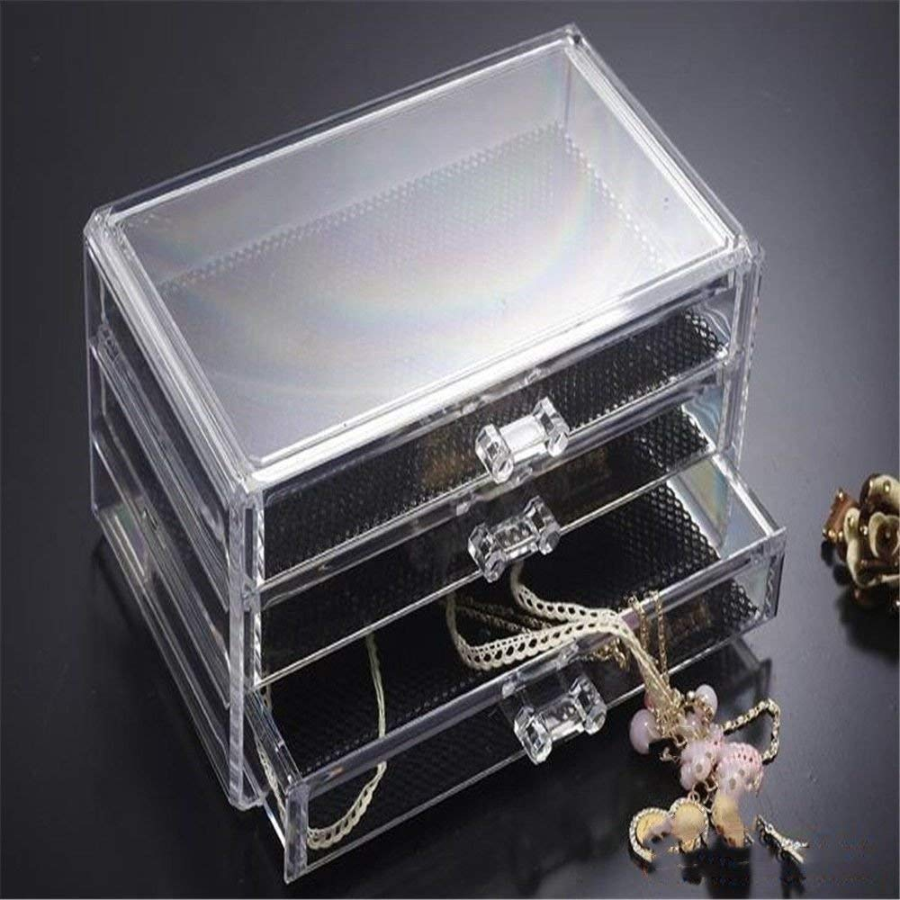 ZQ Cosmetics/Stationery/Small things transparent acrylic plastic desktop 3 drawer storage box