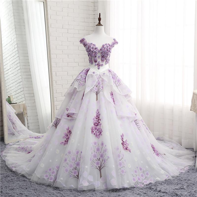 Venta al por mayor vestidos de novia color morado-Compre online los ...