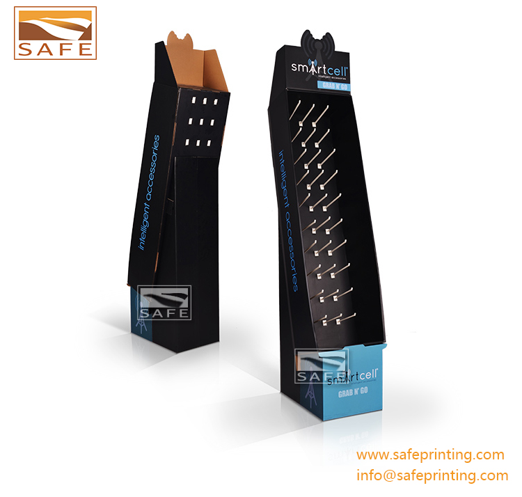 Paper advertising hanging hook display, corrugated cardboard rotating hooks counter display stand