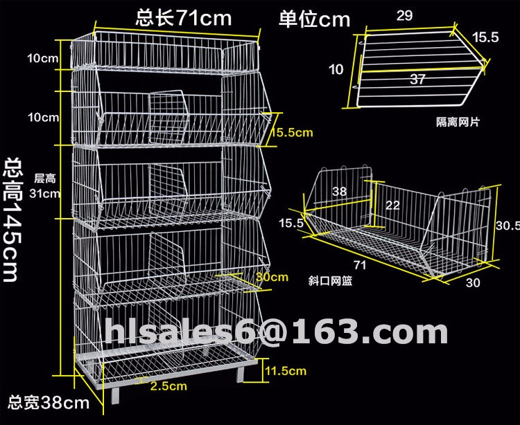 Metal folding Promotion basket dump bin warehouse basket