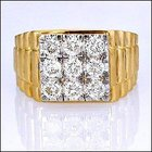 1. 00ct G VS 18k Solid Gold Nine Stone Mens Diamond Ring (R0397)