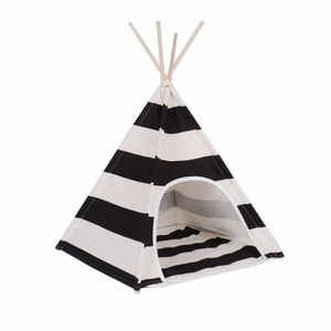 white and black stripe design Pet Play House Cat /Dog Bed Tent
