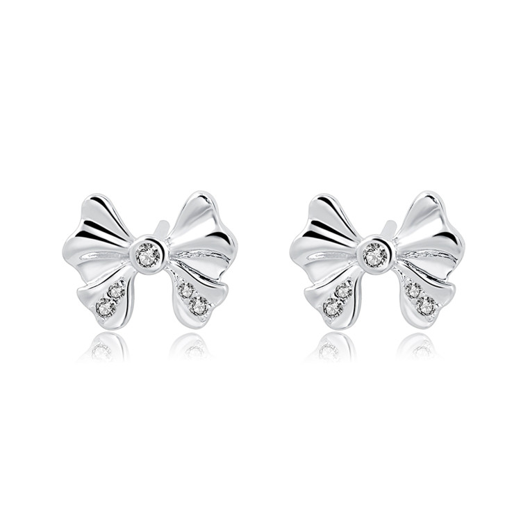 wholesale mini beauty jewelry 925 sterling silver earring Cute bow bow tie stud earrings