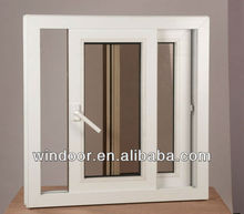 PVC sliding basement window with insect mesh, track windows with fly screen for house,cheap price double glazed upvc windows