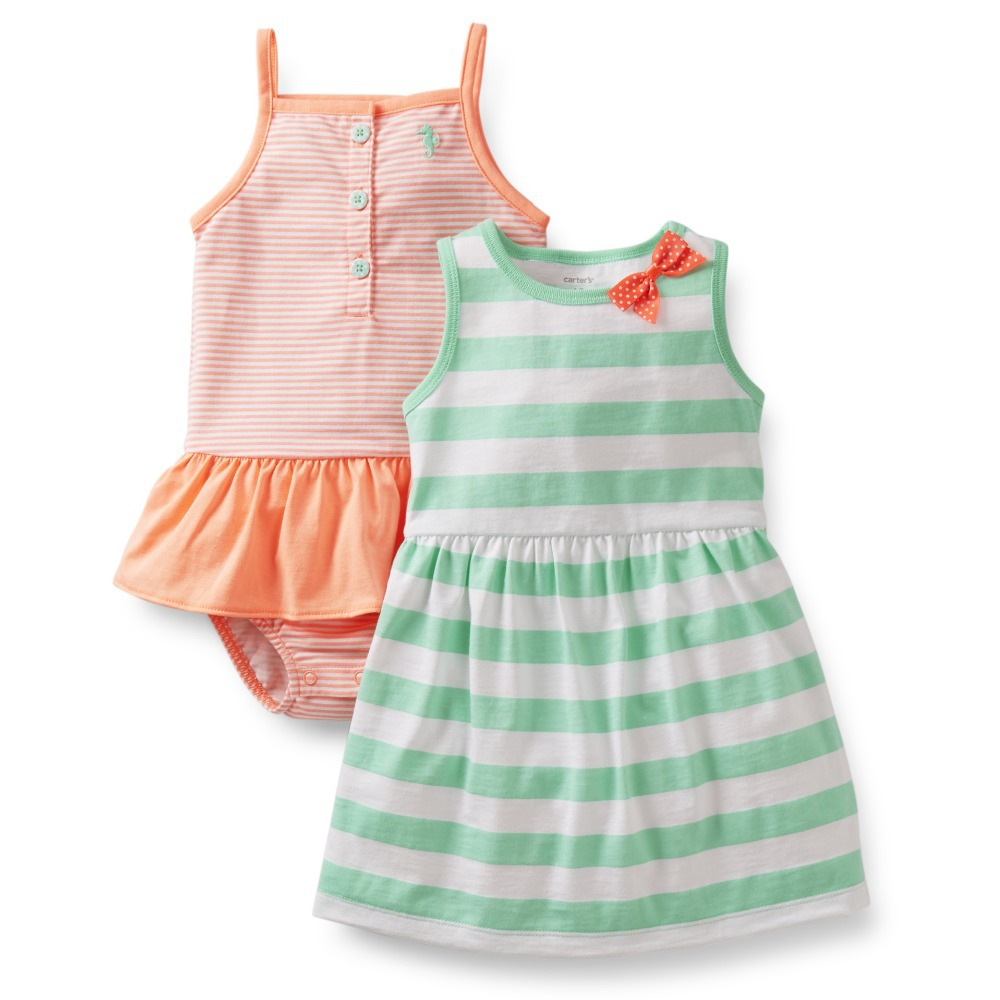 2015 New Arrival Original Carter's Baby Girls Set , Baby Bodysuit+Dress 2 pieces Set , Bay Fashion Clothing Set, Free Shipping