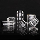 High Quality 3D Engraving Laser Crystal Craft Gifts Clear Crystal Glass Cube Block Customized Logo