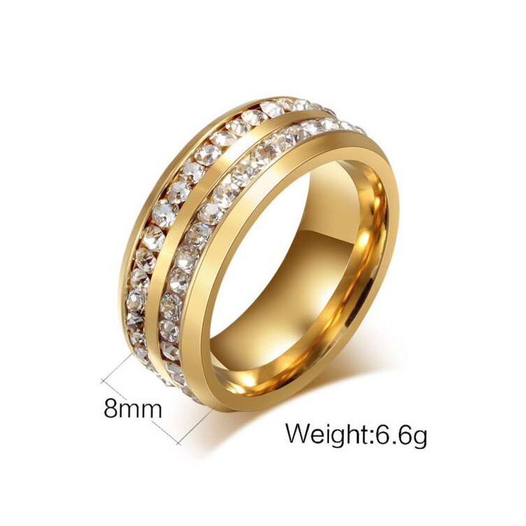 Crystal Stainless Steel Engraved Ring, Gold Finger Ring Design For Women Men With Price
