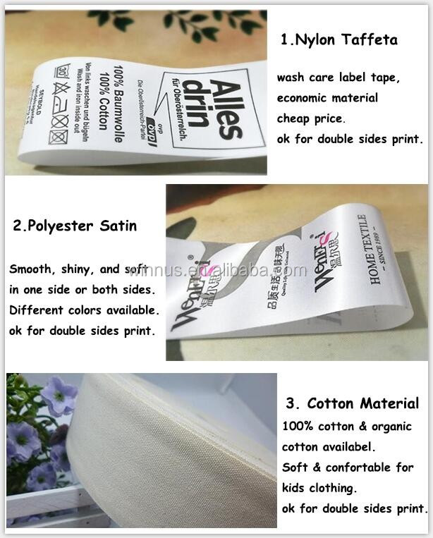 cheap printed center fold cotton size tag, cotton shirt collar size label