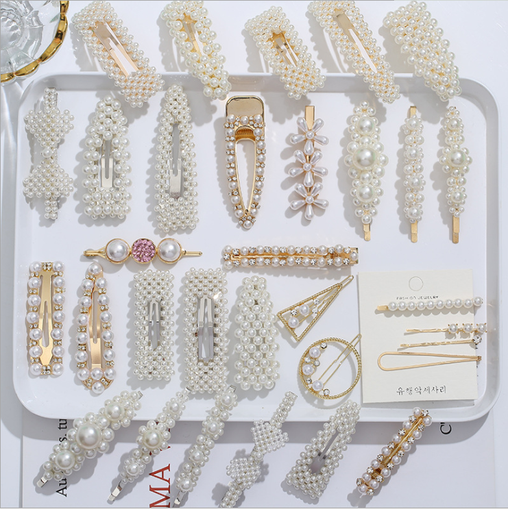 H01Balry Jewelry 2019 Korean pearl hairpin combination set BB clip girl hairpin model show fashion pearl hairpin wholesale