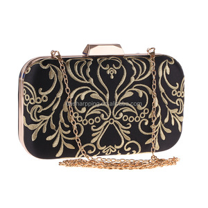 Embroidered Metal Women Floral Box Clutch Bag Ladies Evening Bags India