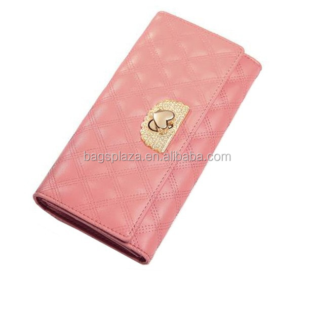 2017 Woman fashion leather purse pink embroidered leather trend wallet WA5085
