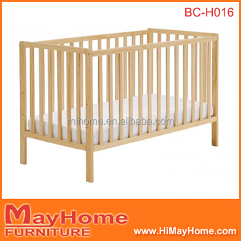 2016 High Quality Cheapest Solid Pine Wood Baby Cot Baby