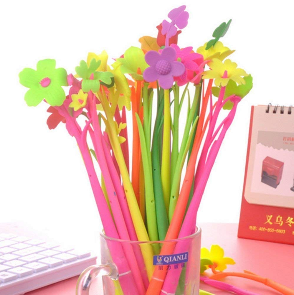 Gydthdeix 30 Pcs 0.5mm Novelty Cute Multicolors Flower Sunflower Black Ballpoint Writing Pen Set Plastic Silicone Creative Gel Ink Pens for Office School Children Kids Gift Stationery Supplies Set