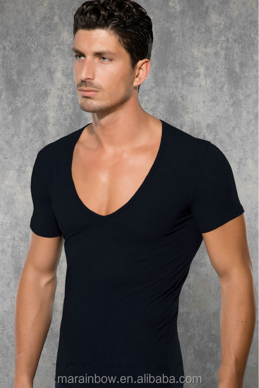 Black 100 cotton plain mens deep scoop v neck t shirts for Deep scoop neck t shirt