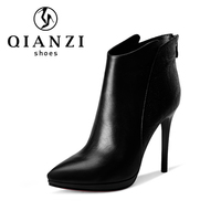 ladies fashion genuine leather shoes women high heel boots