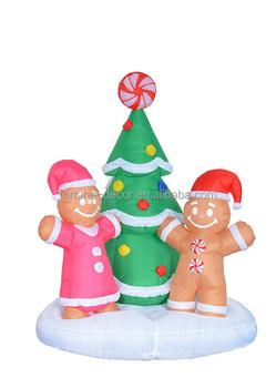 180cm high inflatable christmas gingerbread man and christmas tree - Inflatable Gingerbread Man Christmas Decor