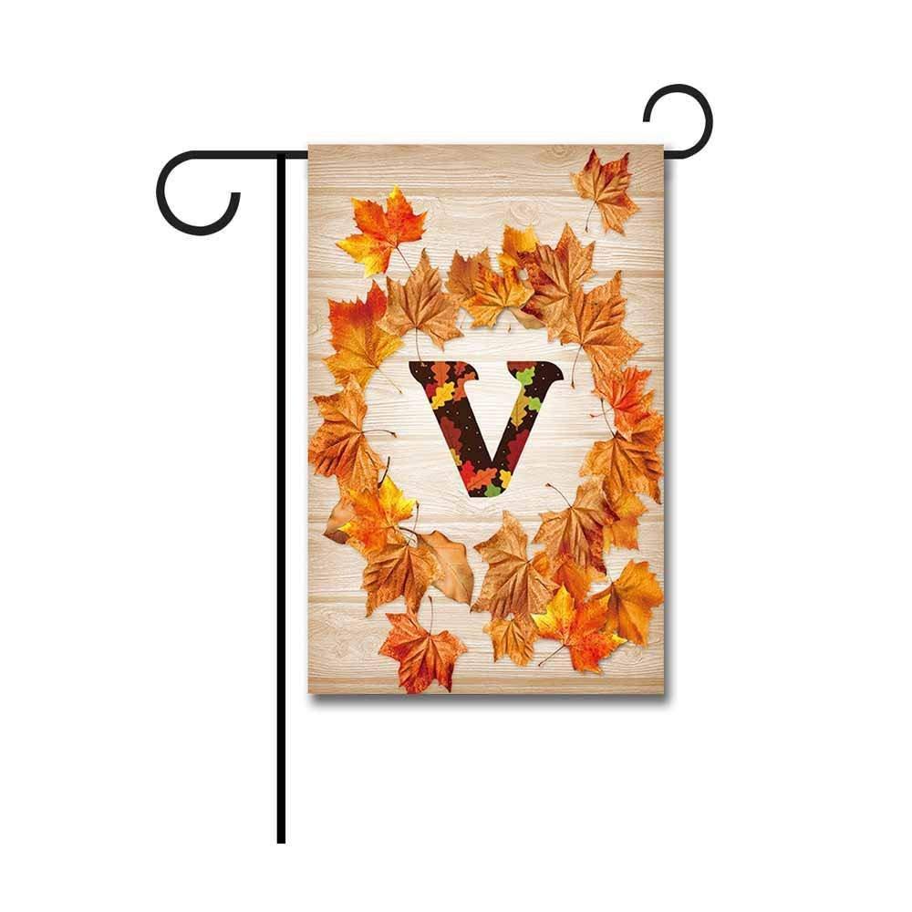 "Kafepross Garden Flag Monogram V Decorative Happy Fall Y'all Leaves Autumn Letter Banner For Outdoor 12.5""X18"" Print Both Sides"