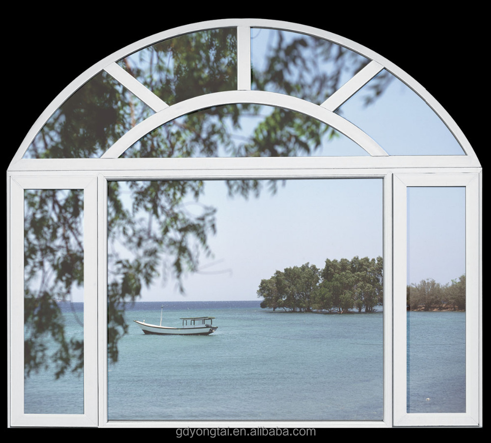Special design big arch window open inside openable window pvc swing windows