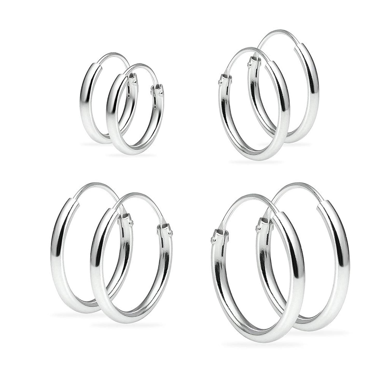 Set of Four Sterling Silver Small Endless 1.2mm x 10mm, 12mm, 14mm &16mm Lightweight Thin Round Unisex Hoop Earrings Assorted Colors