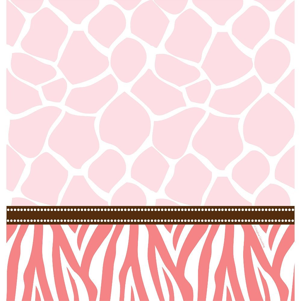 Creative Converting Baby Shower Wild Safari Pink Border Print Plastic Table Cover, 54 by 108-Inch