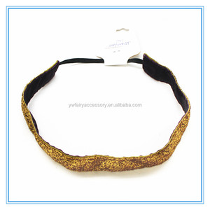 Fashion glitter golden stretch ribbon sport yoga head band