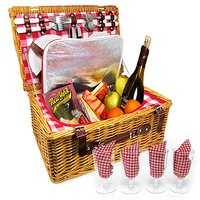 New Wholesale Hot sale wicker picnic basket with lid and handle