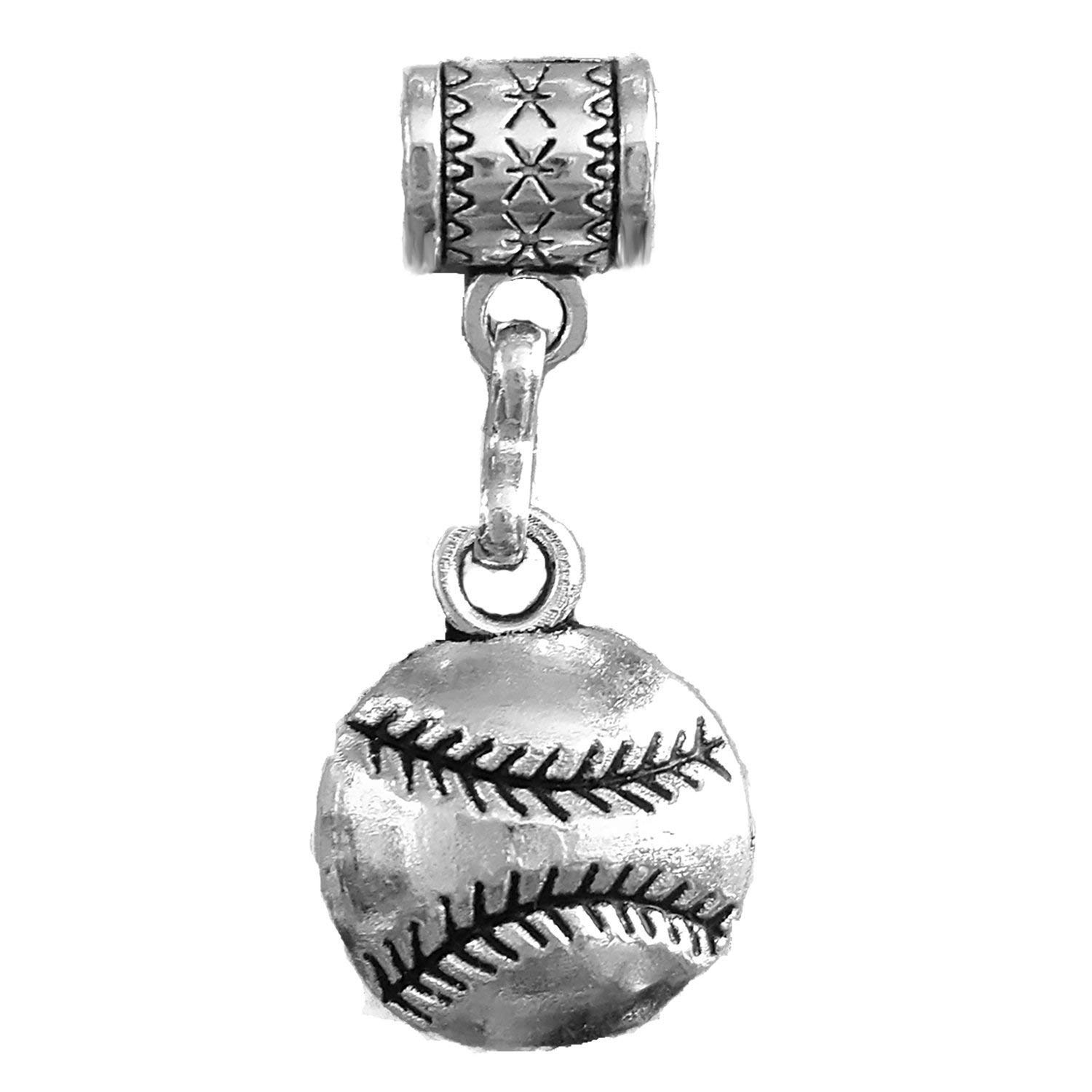 "Mossy Cabin ""Softball"" charm or ""Baseball"" charm in Tibetan Silver for large hole snake chain charm bracelets, or us as a charm for a neck chain, key chain or pendant necklace"