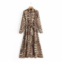 Z30685A Fashion autumn women's animal print printed long sleeved lace dress