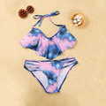 2016 Beach Riot Sexy Blue Tie Dye bikini Print Women High Neck Halter Crop Top Brazilian