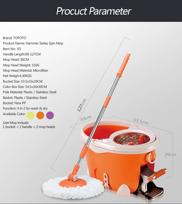 2017 TOPOTO Magic Floor Cleaning Mop Sir Use