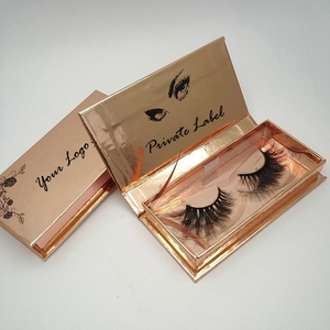 Rose Gold Eyelash Packaging Box Private Label 100% Mink Fur Eyelashes Popular 3d Mink Lashes and Custom Package