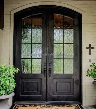 Sen d013 eyebrow arched top wrought iron french door buy for French doors exterior cheap