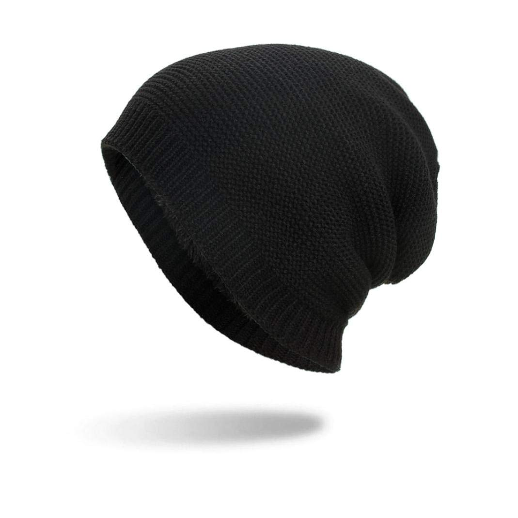 SUKEQ Winter Warm Knit Wool Hat Soft Stretch Thick Fleece Lined Slouchy Beanie Skully Cap Snow Ski Cap for Women Men (Black)