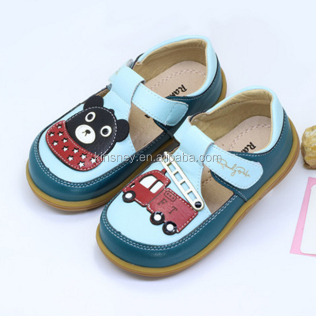 KS00075C Hot sale cartoon pattern new fashion design 2017children outdoor causal leather material for shoes