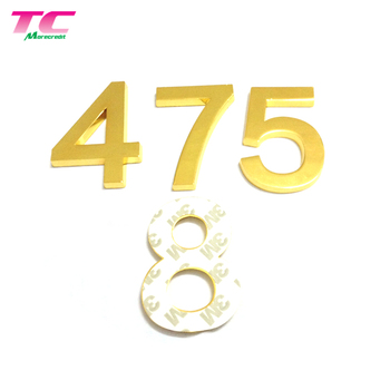 Custom Emblems Adhesive Arabic Numerals Metal Style Badges Car Sticker