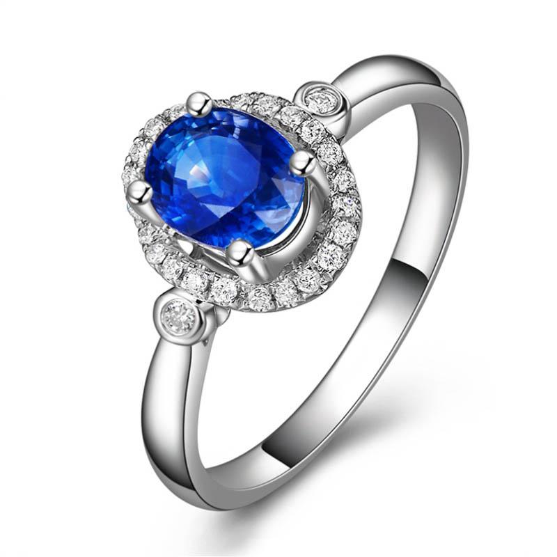 64ed26618fbc Venta caliente de lujo moda 1.05ct Azul zafiro 18 K oro blanco anillo de  compromiso