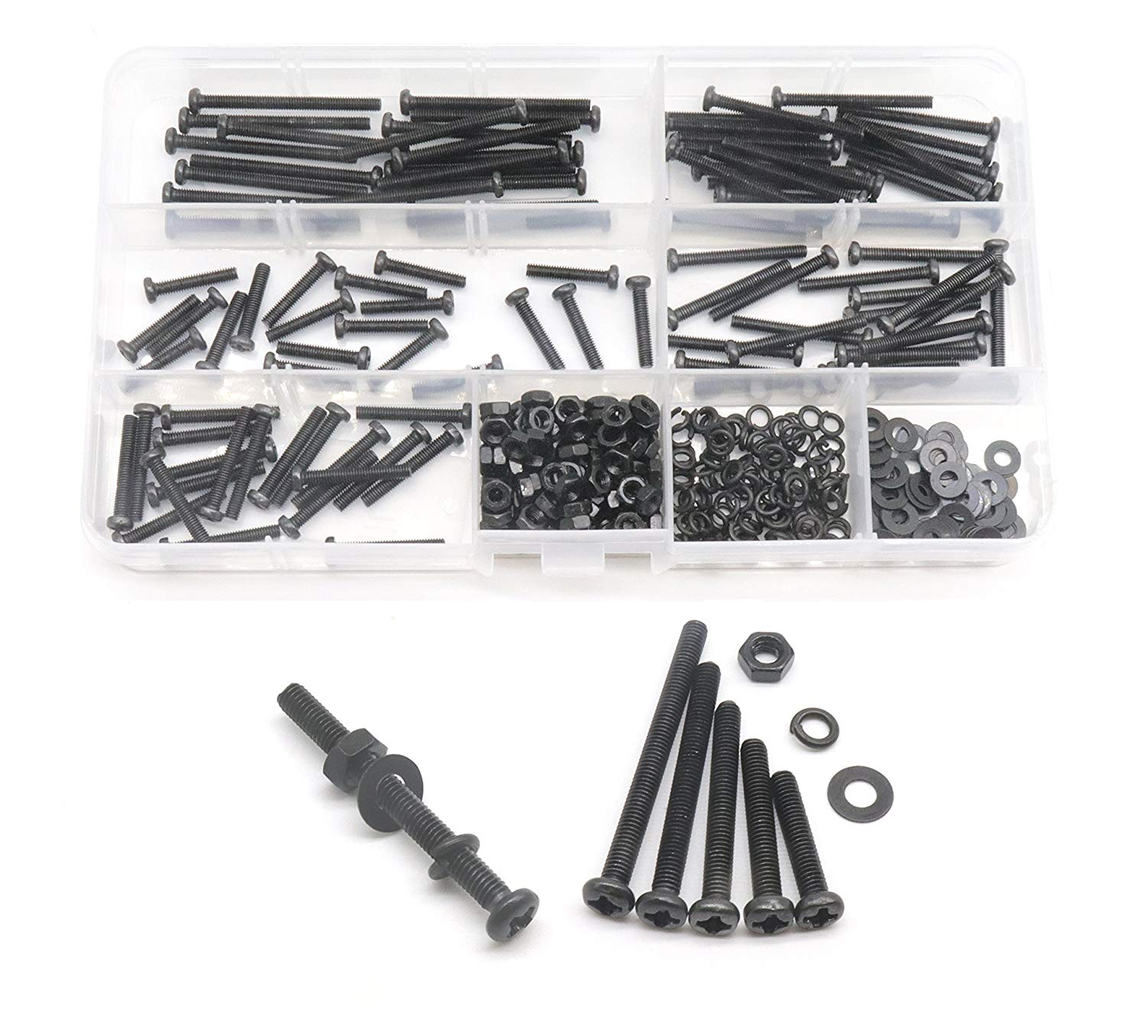 cSeao 400pcs M3 Pan Head Phillips Screws Nuts Washers Assortment Kit, Black Oxide Finish, M3x16mm/20mm/25mm/30mm/35mm