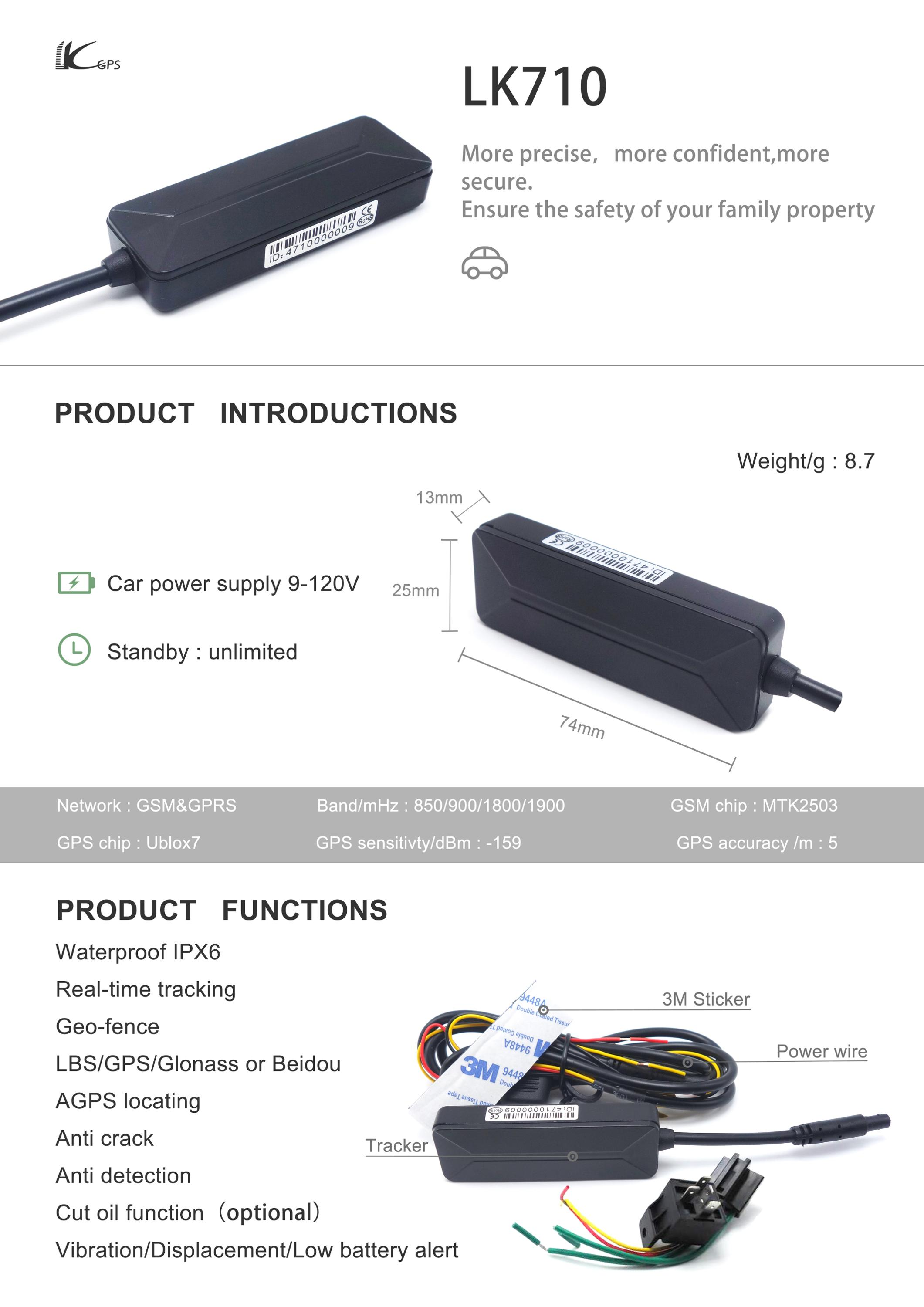 Lk710 Newest Anti theft Function Multiple Vehicle Tracking Device