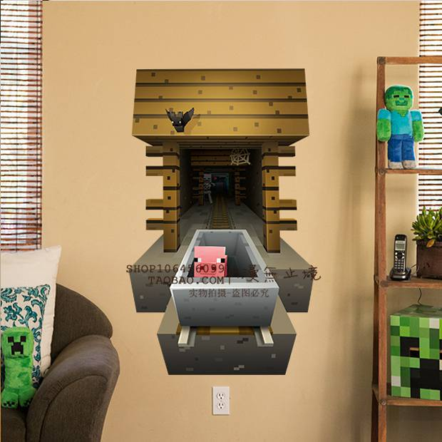 3D Minecraft Style Wall Decal Poster Sticker Room Bedroom