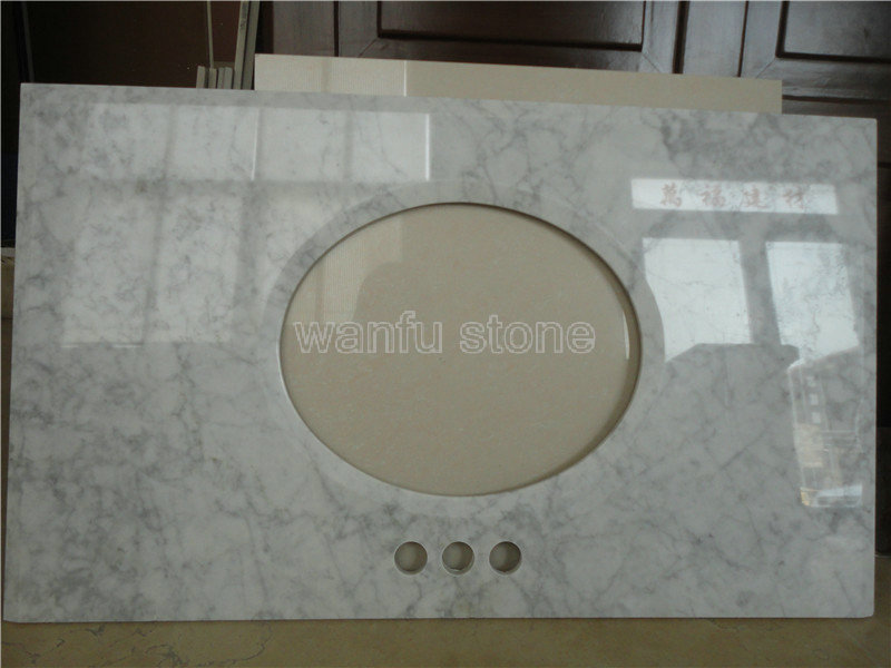 White Carrara Marble Vanity Top, Cultured Marble Discount Bathroom  Countertop