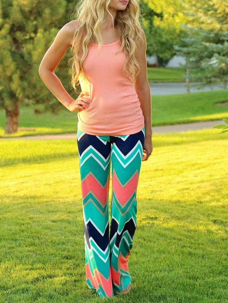 Классический опрятный женщин палаццо брюки свободного покроя цветочные зеленый полосатый вспышки долго шаровары ноги # 75053