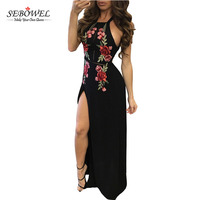 Black High Split Floral Embroidered Sleeveless maxi dress 2017