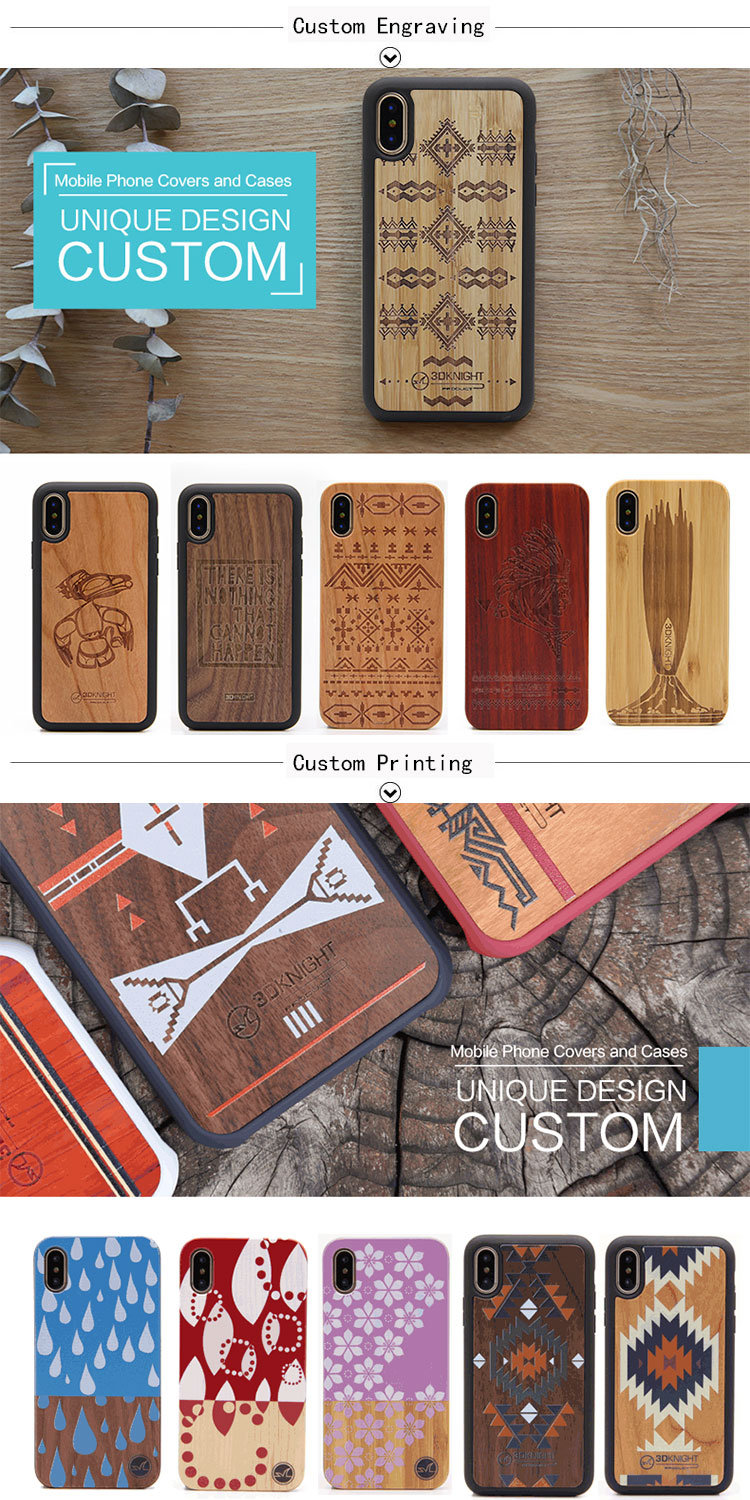 Custom Pattern Natural Blank Real Wood Mobile Cell Phone Case For iPhone XS MAX