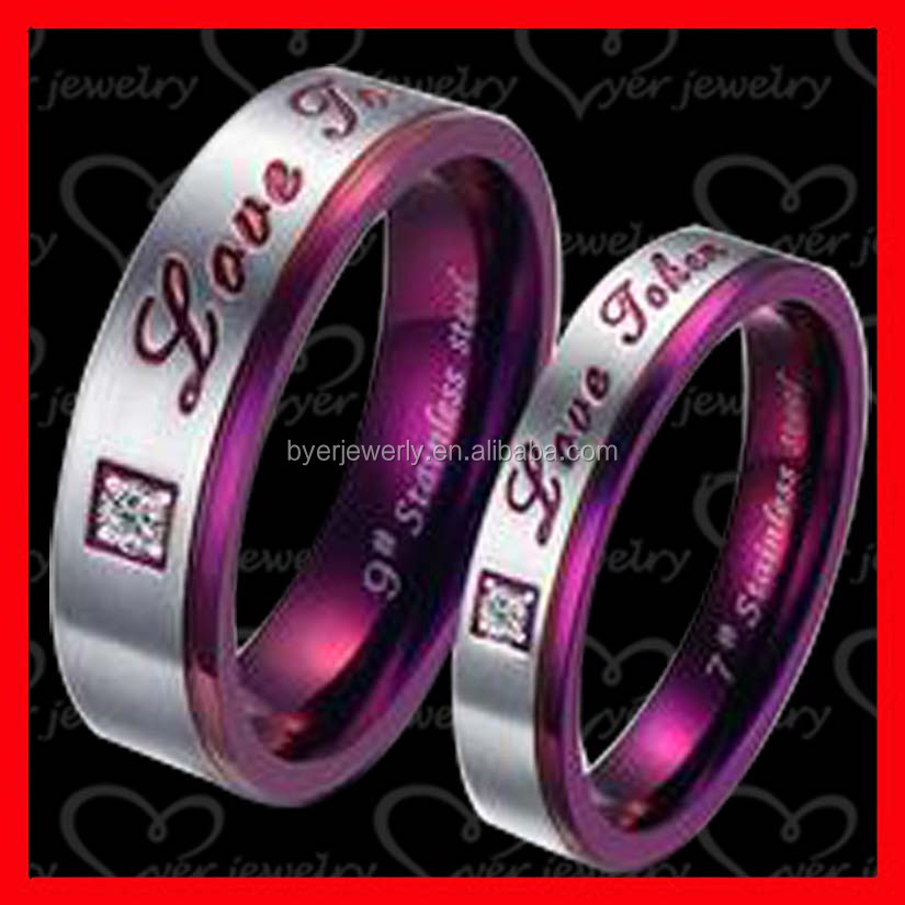 2016 hot sale!!!cheap wholesale women men titanium Engagement ring set