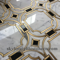 brass inlay arabescato white marble waterjet mosaic tile