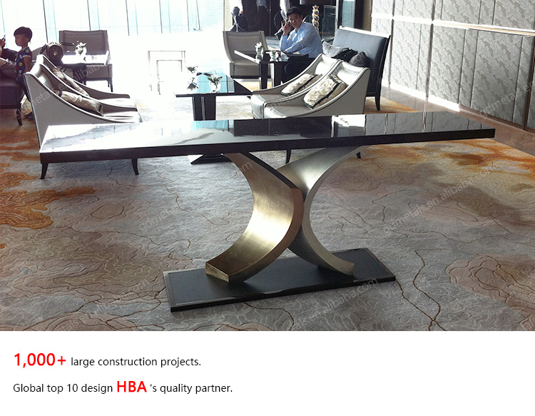 Modern Hotel Furniture table leg Design stainless steel metal table base.