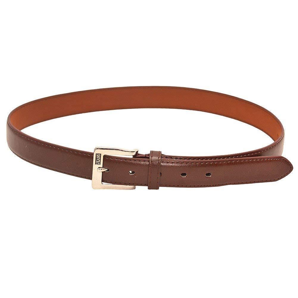 "Unisex Brown Metal Square Buckle Closure Trendy Belt S (19""-23"")-XL (31""-35"")"