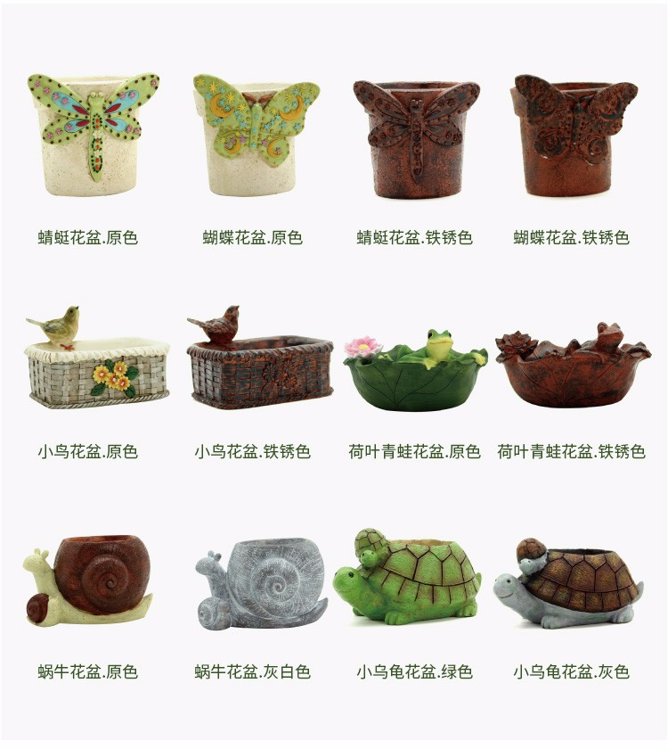 Roogo wholesale resin American village bird succulent plants orchid plants flower pots
