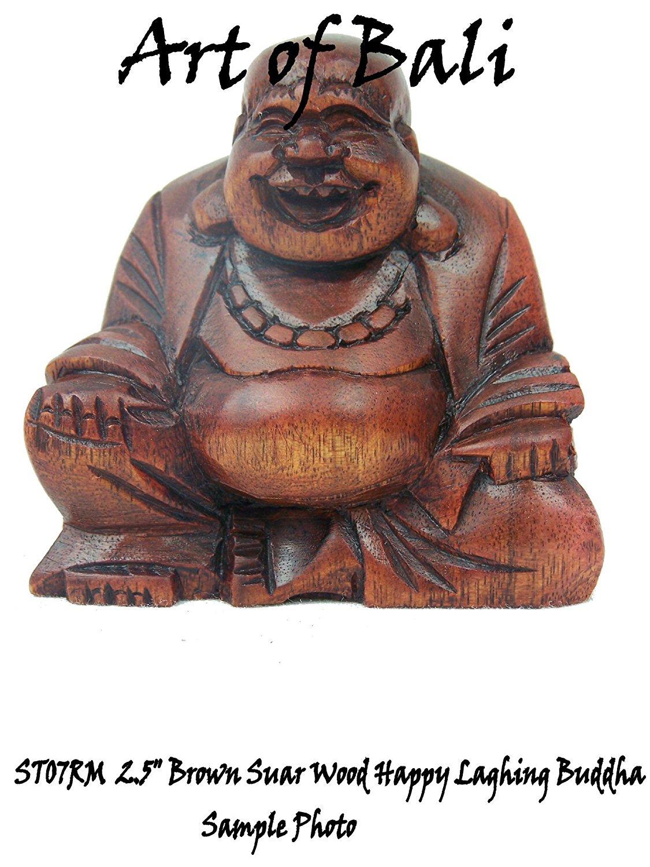 "Art of Bali 2.5"" Red Suar Wood Buddha Statue"